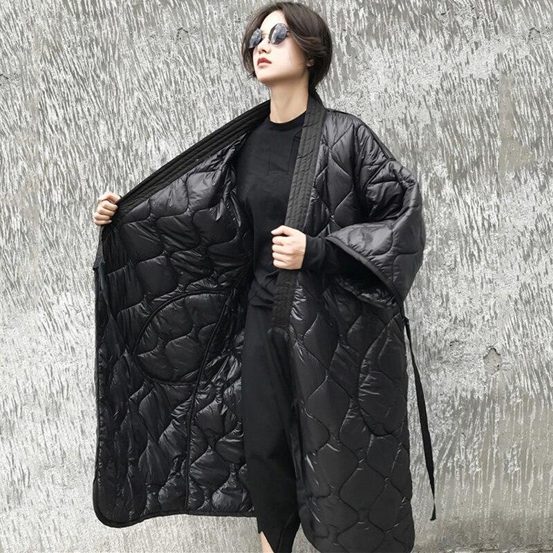 Le Parkas Manteaux Noir Long Vers Automne Nouveau Hiver Femmes Japonais Rembourré Vestes Black Coton Mode Kimono Cardigan Bas Camkemsey 2019 7FwXxvX
