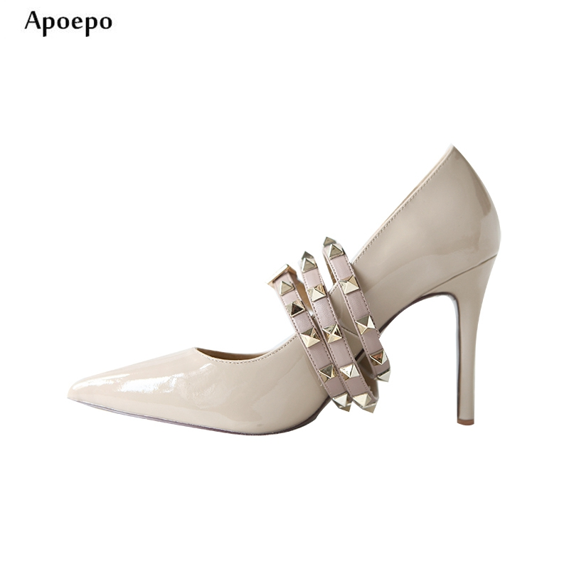 Apoepo Hot Selling Patent Leather Woman Pumps Sexy Pointed Toe Rivet Studded Thin Heels Shoes Spring Single Dress Shoes high heels shoes women pumps patent leather spring single woman dress shoes spring thick heels pointed toe leopard female pumps