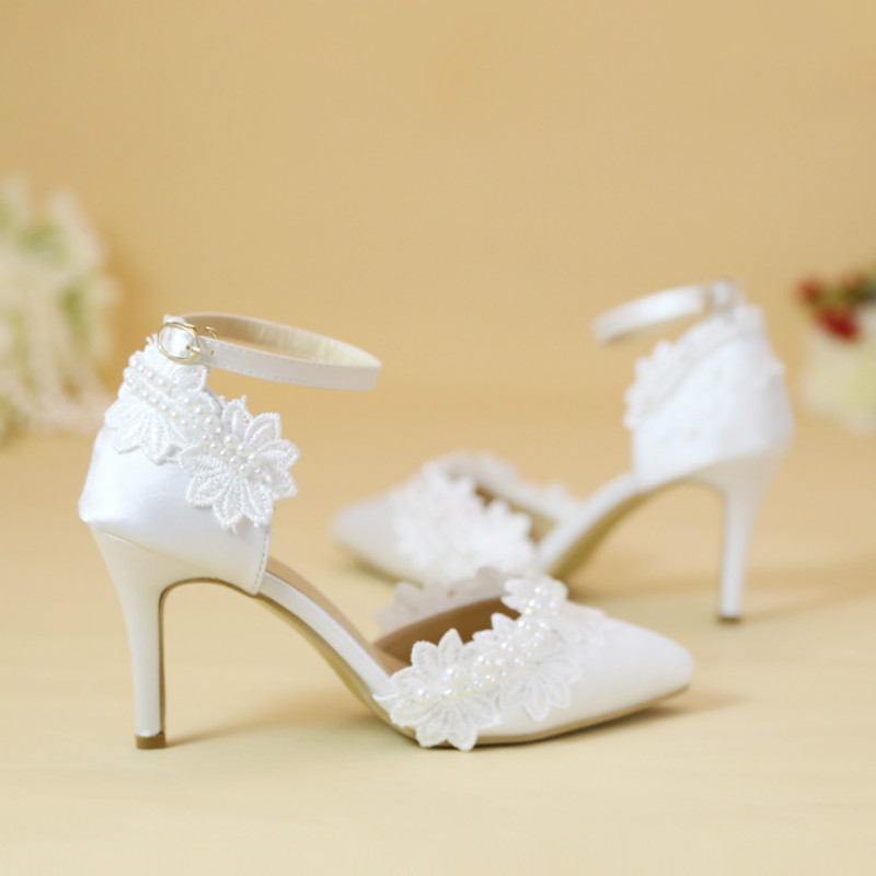 ФОТО White pearl lace flower pointed wedding shoes High heels female sandals One word wristband bridal shoes dress shoes