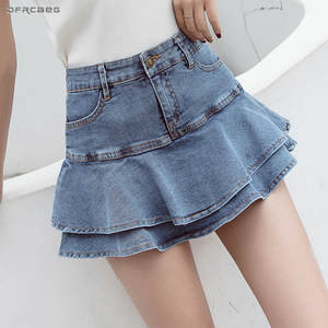 Short Skirts Jeans Ball-Gown Elastic Streetwear Female Denim Summer Ladies Casual Saia