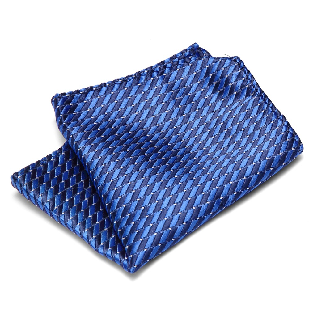 New Classic Blue White Polka Dot Men 100/% Silk Handkerchief Pocket Square Hanky