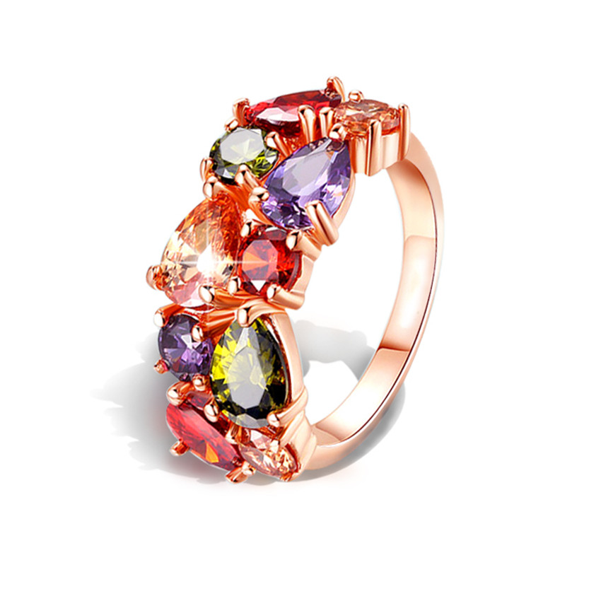 wholesale colorful cubic zirconia ring hypoallergenic copper rose gold color engagement wedding rings for women big discount - Discount Wedding Rings Women