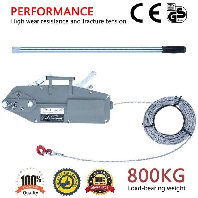 Polipasto Manual de tracción de cuerda de alambre de 800 KG para PLATAFORMA ELÉCTRICA suspendida de alta resistencia 20 M cable de acero de bloque de cabrestante de mano cuerda