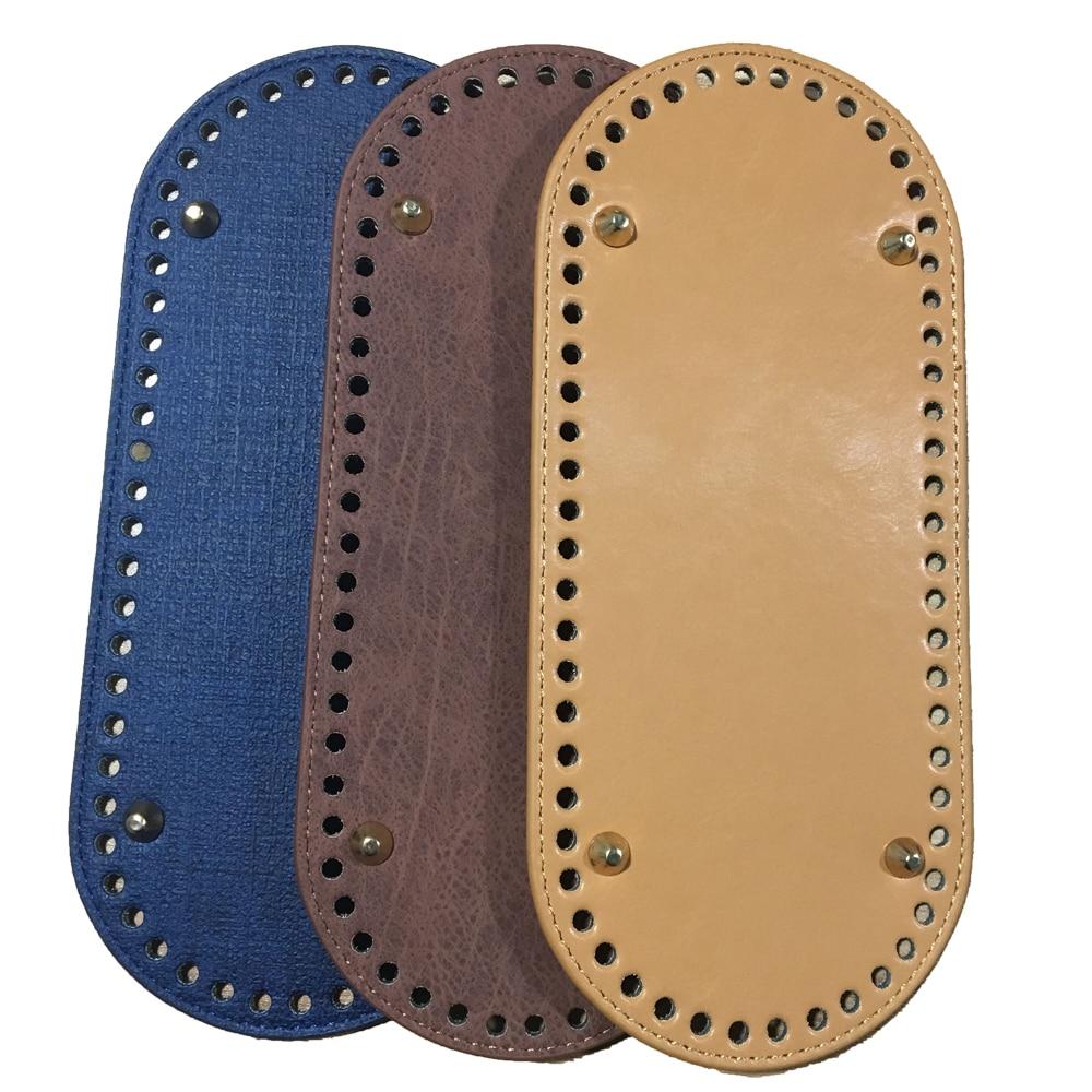 25x11cm Bag Bottom Oval Leather Bottoms With Holes Bag Accessories Handmade PU DIY Part  For Handbag Crossbody Messenger Bags