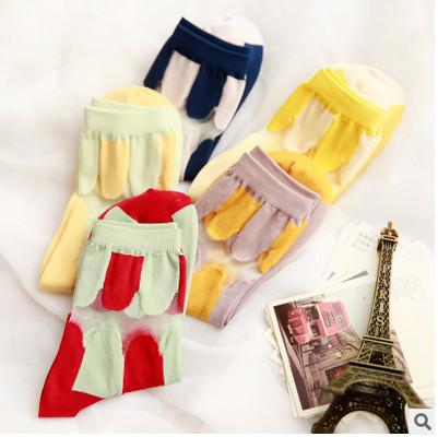 10 PCS = 5 pairs Nova primavera e verão feminino listrado fino de algodão rendas cor feitiço meias