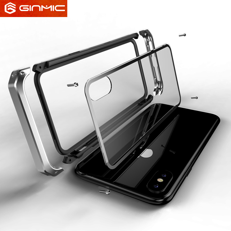 For Apple iphone X Case Clear Tempered Glass Hard Plastics Metal Hybrid Phone Protective for iphonex 10 Shockproof Cover Luxury