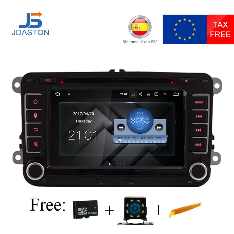 JDASTON Android 7.1 2 Din Car Radio Multimedia GPS DVD For Volkswagen/Golf/Polo/Tiguan/Passat/b7/b6/CC/SEAT/leon/Skoda/Octavia isudar car multimedia player 2 din car dvd for vw volkswagen golf polo tiguan passat b7 b6 seat leon skoda octavia radio gps dab