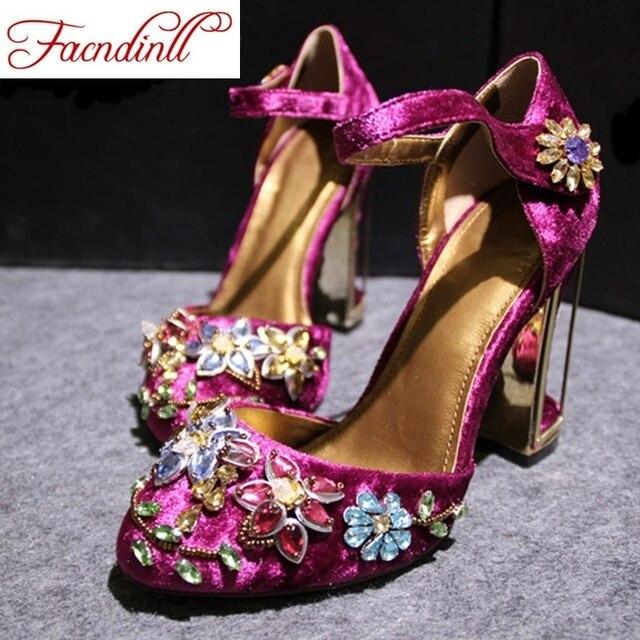 b21e5481 FACNDINLL primavera verano Mujer diamantes de imitación zapatos de tacón  alto zapatos de novia rojo púrpura
