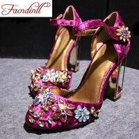 FACNDINLL primavera verano mujer rhinestone tacones altos zapatos de boda zapatos de novia rojo púrpura de encaje plataforma zapatos de fiesta para las mujeres
