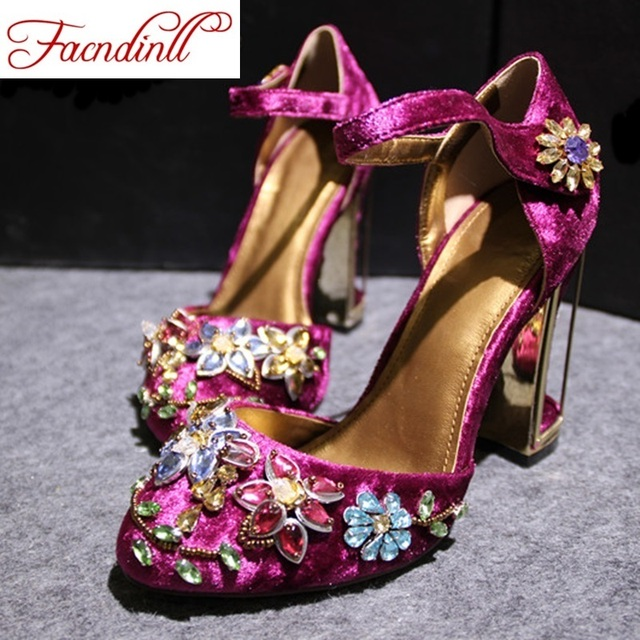 FACNDINLL spring summer woman rhinestone high heels shoes wedding shoes bridal red purple lace platform party shoes for women