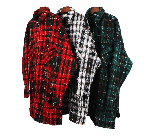 Long Sleeve Wool-blend Tweed Overshirt Hiphop Men Relaxed Fit Check Pattern Spread Collar Cropped Jacket plaid