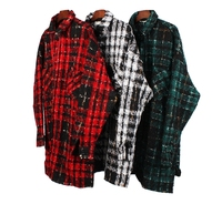 Checked Long Sleeve Cropped Fit Shirt Jacket Hiphop Long Style Spread Collar Plaid Coat Free Shipping
