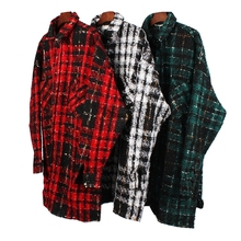 Long Sleeve Wool-blend Tweed Overshirt Hiphop Men Relaxed Fit Check Pattern Spre