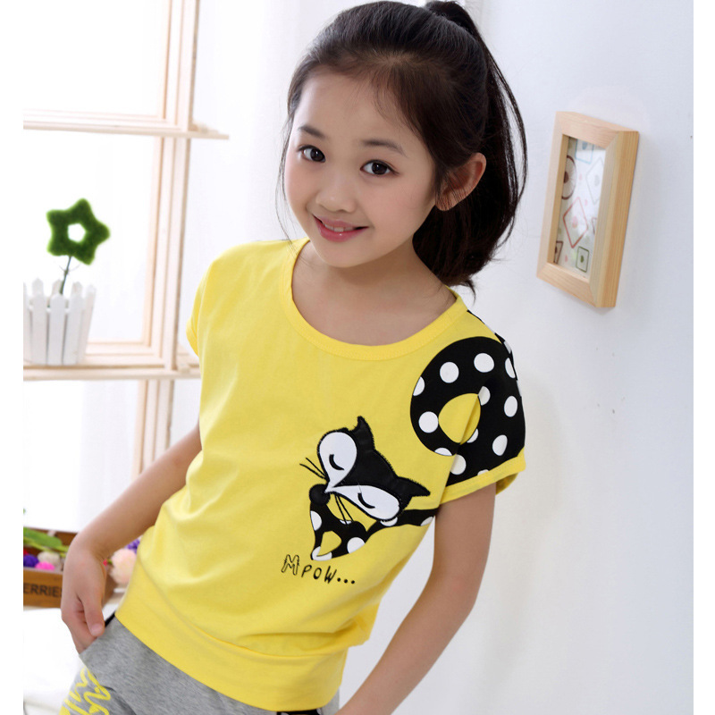 Girl Short Sleeve + Casual Pants Kids Clothing Suits Cartoon Print Children Sets for Girl Sports Set 4-14 Ages Teensch Clothing