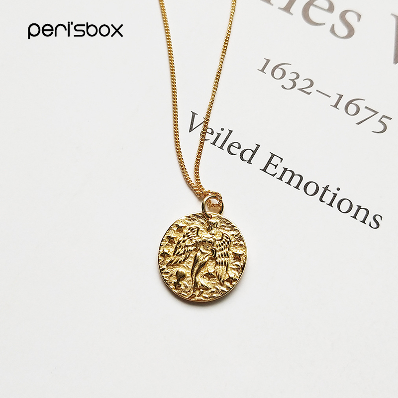 PerisBox 925 Sterling Sliver Virgin Constellation Chokers Necklaces Baroque Coin Disc Pendant Choker Layered Chain NecklacesPerisBox 925 Sterling Sliver Virgin Constellation Chokers Necklaces Baroque Coin Disc Pendant Choker Layered Chain Necklaces