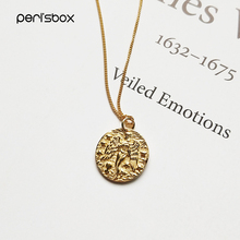 Peri'sBox 925 Sterling Sliver Virgin Constellation Chokers Necklaces Baroque Coin Disc Pendant Choker Layered Chain Necklaces