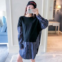 Pregnant women wear T shirt new fashion color matching long sleeved wild maternity dress large size long section