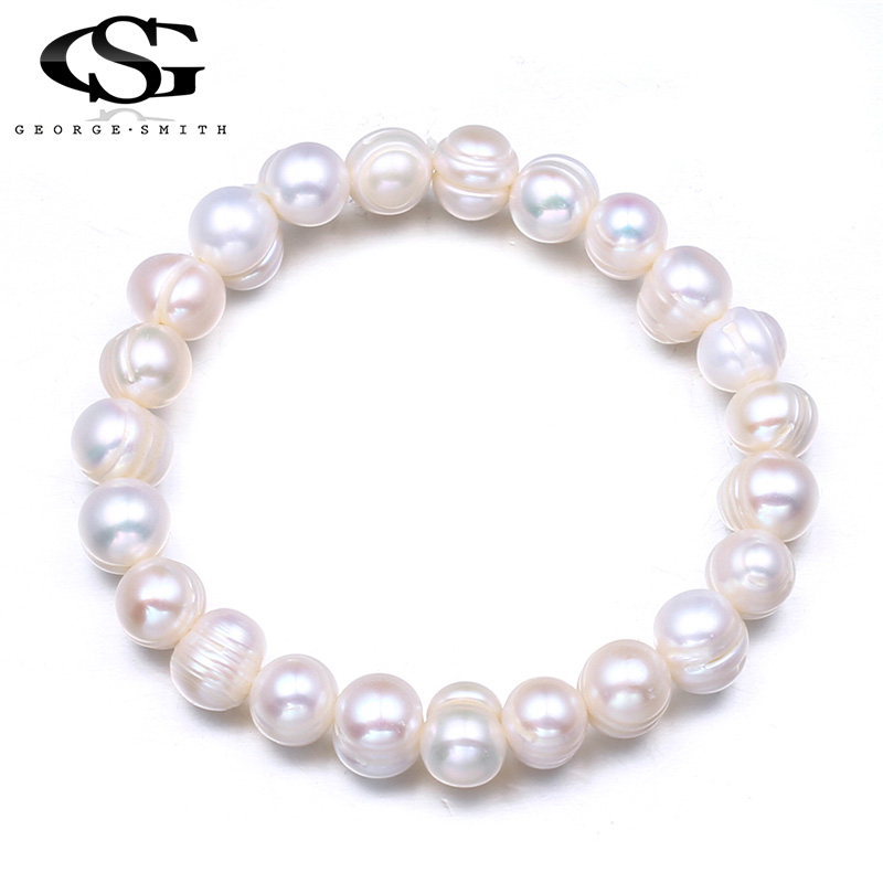 GS Freshwater Pearl Bracelet Women Elastic Rope Charm Bracelets Bangles Wedding Party Pearl Jewelry Pulseras Mujer Perlas R4 in Charm Bracelets from Jewelry Accessories