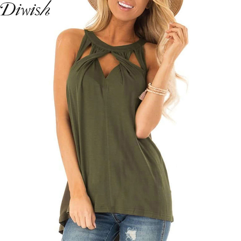 Diwish New Arrival Womens Blouses And Tops Sexy Fashion Halter Solid Tops For Women Sleeveless Hollow Out Blouse T-Shirt