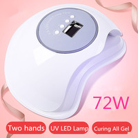 Largest Space 72W UV LED Nail Lamp Double Light Source Nail Dryer Light Curing LED Gel Polish Tools With Infrared Sensor Timer