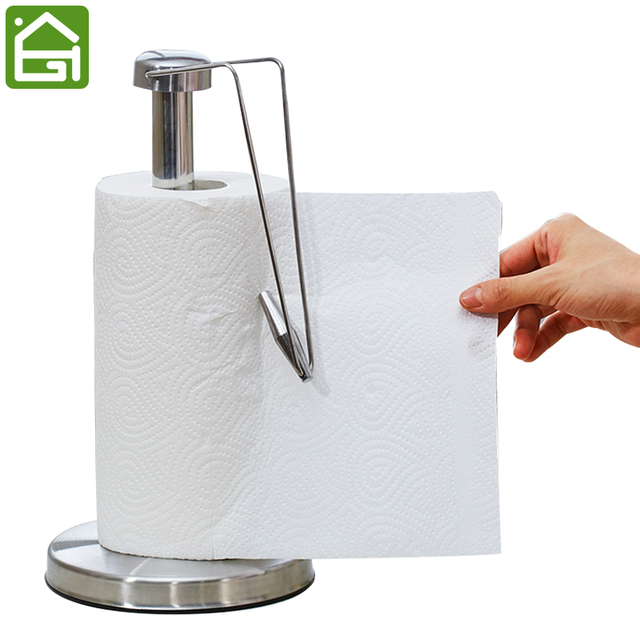 Non Slip Stainless Steel Paper Towel Stand Holder Kitchen Tissue Wiping  Stand Rack Disposable Roll