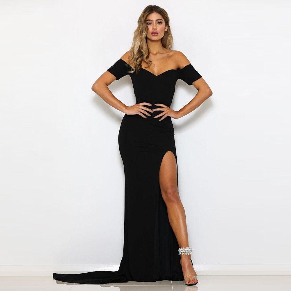 Black Red Maxi Dress Off The Shoulder Slash Neck Evening Party Dresses Floor Length Mermaid Dress