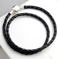 Double Circle 925 Sterling Silver Bead Charm Genuine Leather Lobster Clasp Snake Chain Beads Fit Pandora