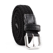 OLOME Elastic Canvas Belts Woman Braided Knitted for Women Jeans Thin Strap Black Female Belt Width 2cm