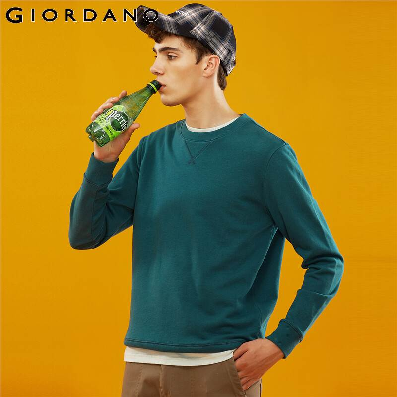 Giordano Men Sweatshirt Solid Pullover Sweatshirt Men Long Sleeve Fashion Terry Mens Clothes Sudadera Hombre Moleton Masculino 5