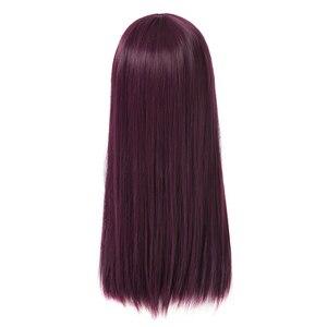 Image 4 - L email perruque de Cosplay synthétique de 50cm de Long, style nouveau film à caractère Mal, perruque de Cosplay violette résistante à la chaleur
