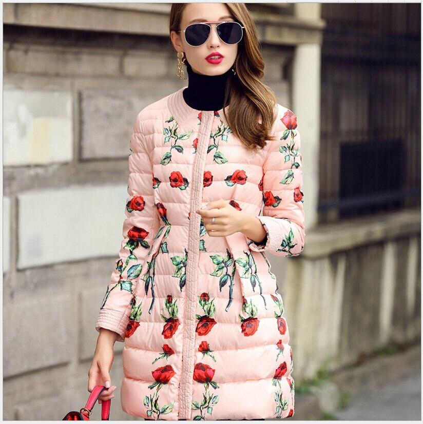 2017 New Women Fashion Coat Elegant Round collar Printed Medium long cotton jacket Women Slim Big yards Leisure Warm Coat G2247