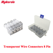 10 Pcs transparent Universal Compact Wire Wiring Connectors 8 Pin Conductor Terminal Block with Lever MKVSE-108 wago