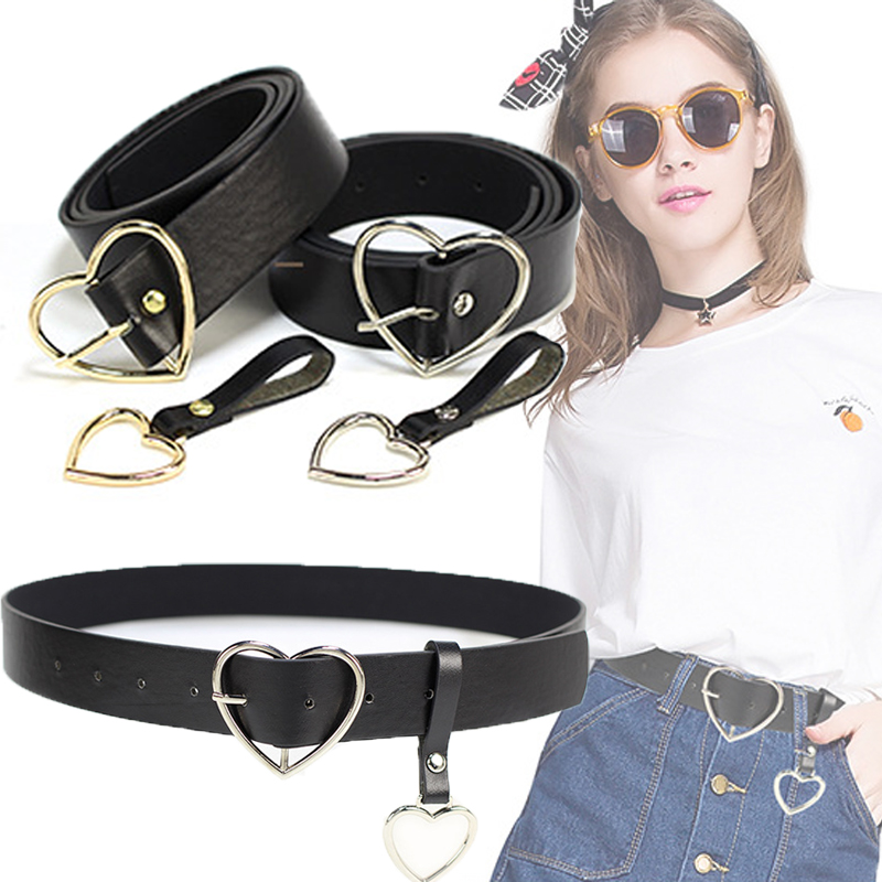 Harajuku PU Leather   Belts   for Women Metal Buckle Heart   Belt   Waistband Wedding Party Dress Jeans Decor For Ladies   Belt