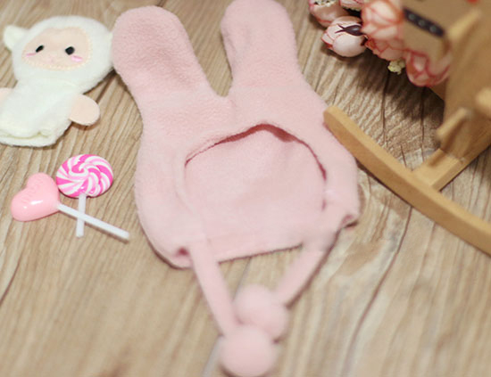 BJD Doll Caps Pink Rabbit Ear Hat Available For 1/4 1/6 BJD MSD MDD YOSD Doll  Accessories