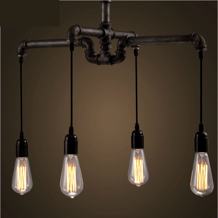 Industrial Vintage Iron Cord Pendant Lamp Simple Modern Loft Style Water Pipe Light Classic Dining Room