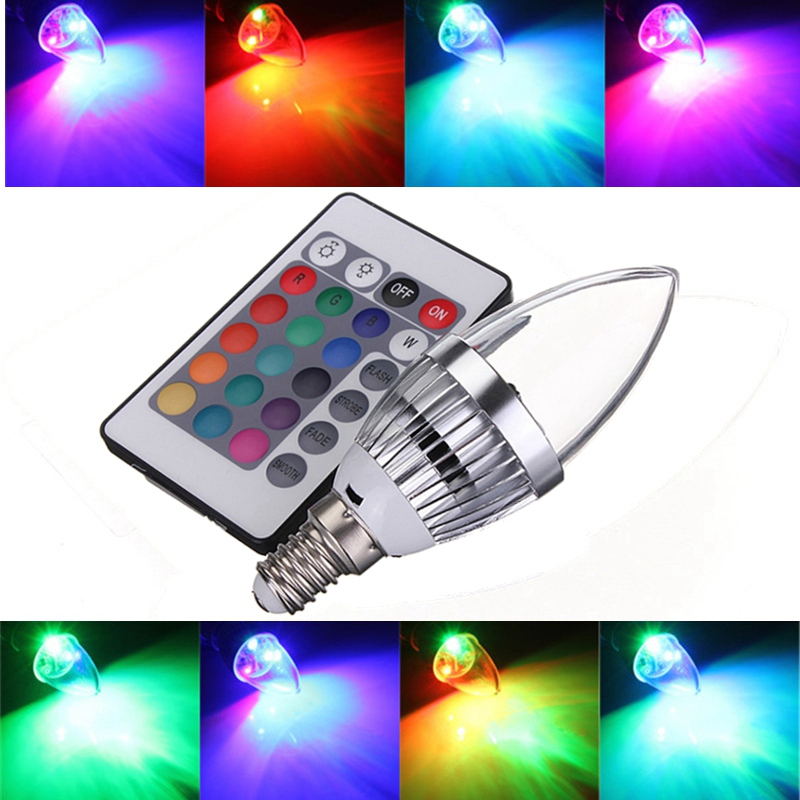 New 3W LED Lamp Bulb E14 16 Color Changing Candle RGB LED Light Bulb Lamp Chandelier Lighting With Remote Control 85-265V