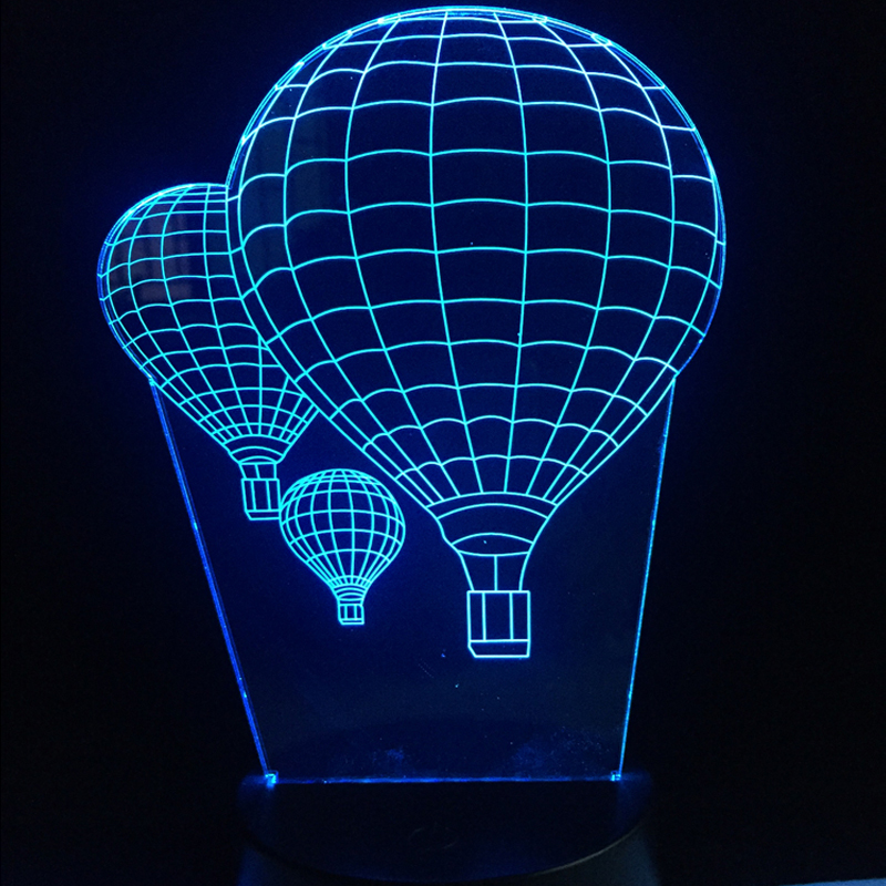 Hot Air balloon 3D Led USB Night light Table Lamp Colors Gradient Creative Luminaria Optical Illusion Lamp Home Decorative Gifts ao058m 2m hot selling inflatable advertising helium balloon ball pvc helium balioon inflatable sphere sky balloon for sale