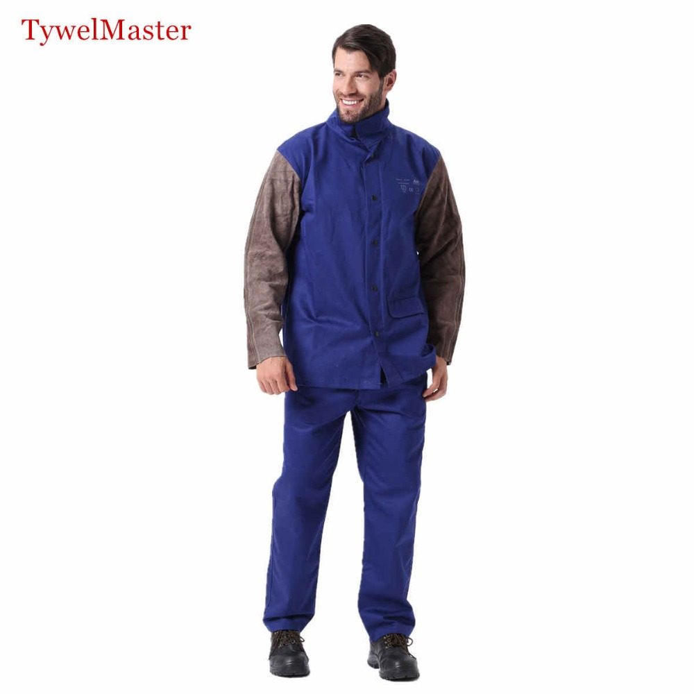 Resistant Long Suit Working Sleeve Flame Pant Jacket Leather Cowhide Welder Worker Suit Coordinates Clothes Welding