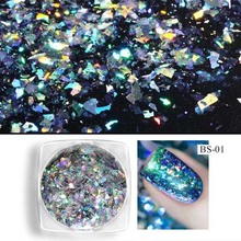 0.1g New Aurora Laser Chameleon Irregular Mirror Magic Powder Film Nail Glitter Decoration Specifical Flake Sequins