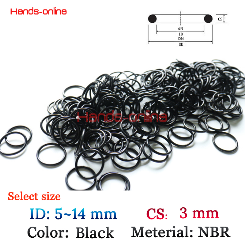10x ID 5 6 7 <font><b>8</b></font> 9 10 <font><b>11</b></font> 12 13 14mm <font><b>x</b></font> CS 3mm Oil Resistant NBR Nitrile Butadiene Rubber CS <font><b>3</b></font> mm O-Ring Sealing Ring