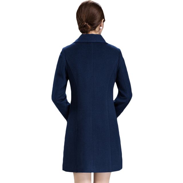 Women's Loose Plus Size Clothing 2018 Autumn Winter Fashion Turn Down Collar Double-breasted Slim Wool Trench Coat Jacket XH598 2