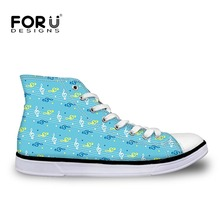 FORUDESIGNS Women Shoes Casual High Top Canvas Shoes Music Score Pattern Female Vulcanized Shoes Fashion Ladies