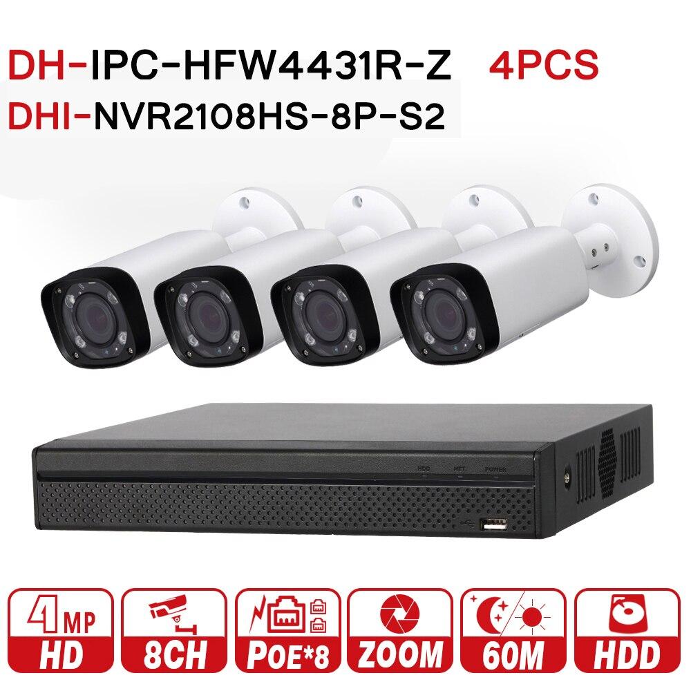 DH NVR di Sicurezza del CCTV Della Macchina Fotografica Kit NVR NVR2108HS-8P-S2 OEM Macchina Fotografica del IP di IPC-HFW4431R-Z Motore Zoom Della Macchina Fotografica del Sistema di Sorveglianza