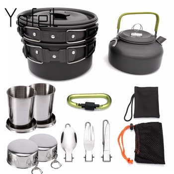 1 Set Outdoor Pots Pans Camping Cookware Picnic Cooking Set Non-stick Tableware  With Foldable Spoon Fork Knife Kettle Cup 1