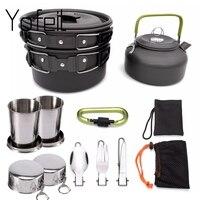 1 комплект наружные Горшки Кастрюли для кемпинга кухонная посуда для пикника набор для приготовления пищи Антипригарная посуда с складная ...