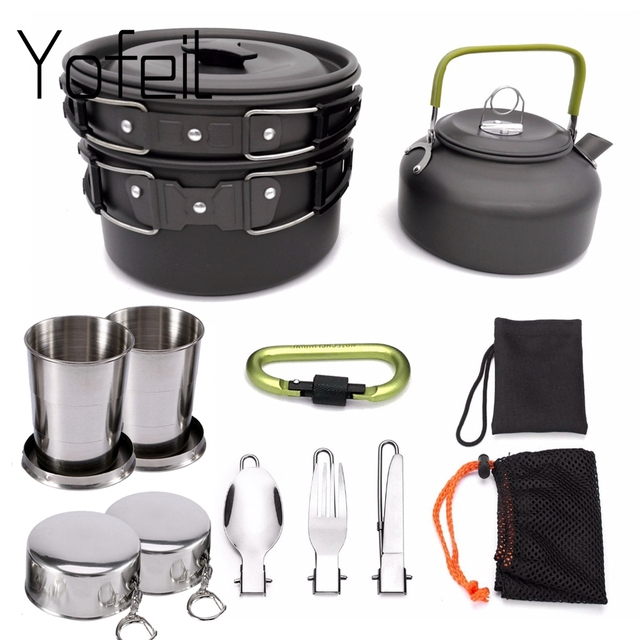 1 Set Outdoor Pots Pans Camping Cookware Picnic Cooking Set Non stick Tableware With Foldable Spoon