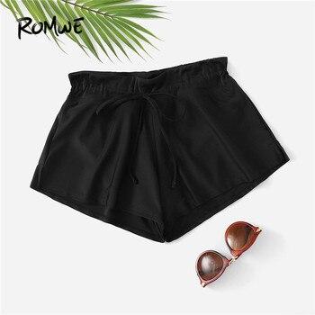 Romwe спортивные черные шорты для плавания с разрезом сбоку на шнурке женские пляжные шорты для серфинга плюс размер 2019 летняя одежда для отды...