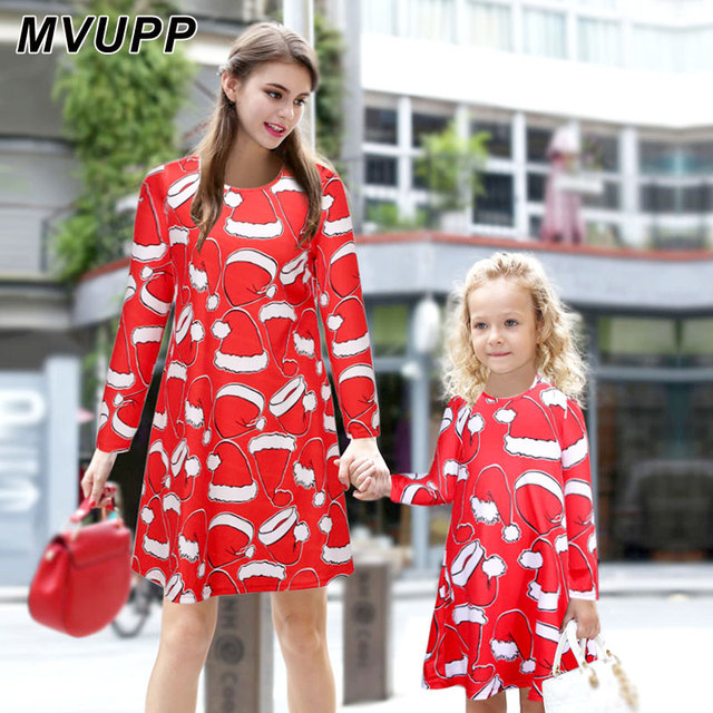 mvupp mother daughter outfit red long sleeve christmas clothes for family christmas hat printing mama and