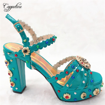 Elegant party teal color pumps with nice decoration graceful lady sandal shoes CFS12 size38-42