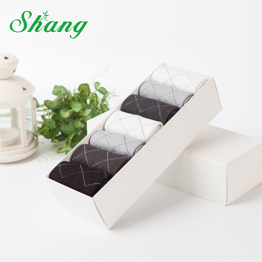 BAMBOO WATER SHANG 7paires/Gift box packaging Bamboo fiber men socks mens elite casual business socks Dotted line diamond LQ-51